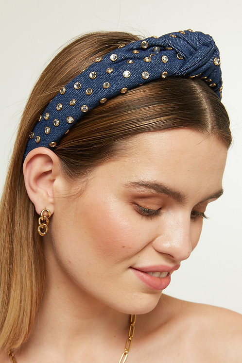 DENIM STUDDED HAIRBAND