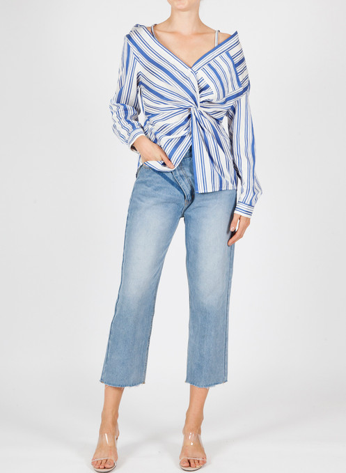 88eadda8b818 Blue and white strip shirt with adjustable straps. Off the shoulder