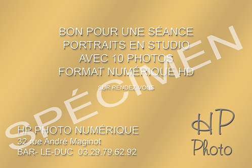 CARTE CADEAU SÉANCE STUDIO 10 PHOTOS EN FORMAT NUMÉRIQUE HD