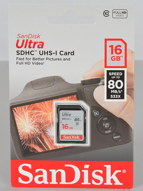 SANDISK ULTRA SDHC UHS-I CARD 16 GB 80 MB/S