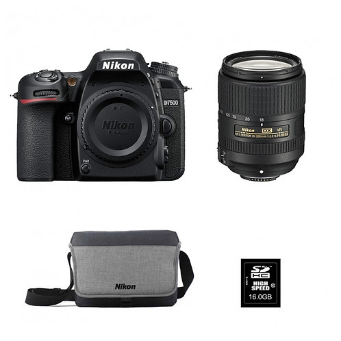 NIKON D7500+AF-S DX 18-300 mm f/3,5-6,3 G ED VR + FT + SD16GO
