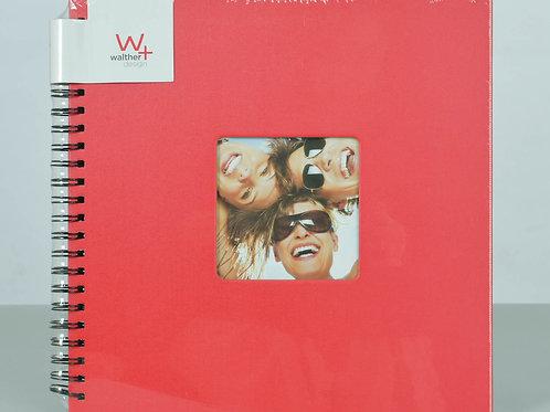 Album 50 pages noires à spirales pour environs 200 photos 10x15. Rouge
