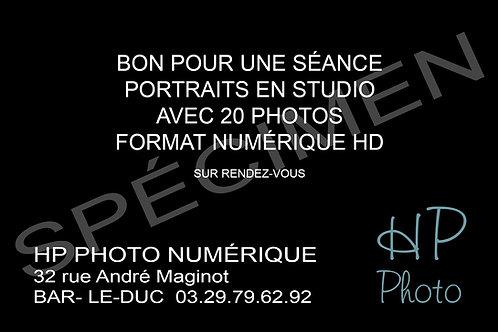 CARTE CADEAU SÉANCE STUDIO 20 PHOTOS EN FORMAT NUMÉRIQUE HD