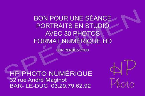 CARTE CADEAU SÉANCE STUDIO 30 PHOTOS EN FORMAT NUMÉRIQUE HD