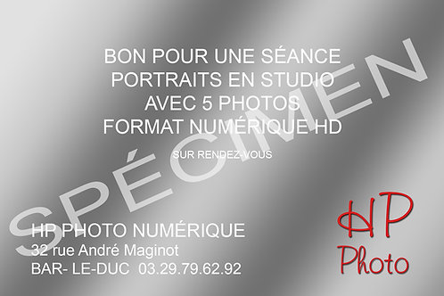 CARTE CADEAU SÉANCE STUDIO 5 PHOTOS EN FORMAT NUMÉRIQUE HD