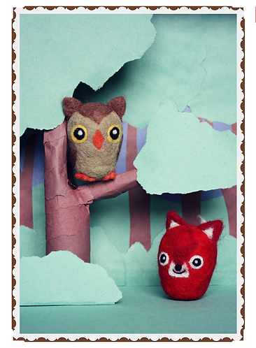 Frabjous Needle Felting Fox and Owl