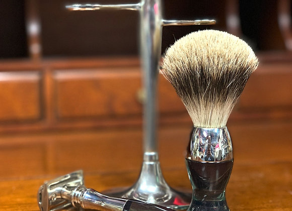 eShave Nickel Fine Brush and Shaver with Stand