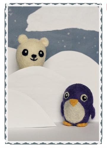 Frabjous Needle Felting Polar Bear and Penguin