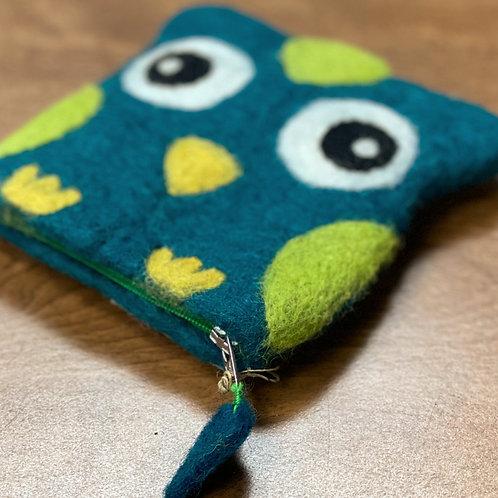 Felt Needle Case- Small Teal Owl