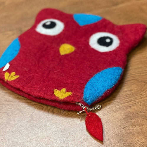 Felt Needle Case - Large Red Owl