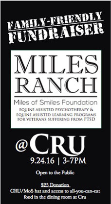 October 28th , 3-7 PM. Miles Ranch Fundraiser @ CR