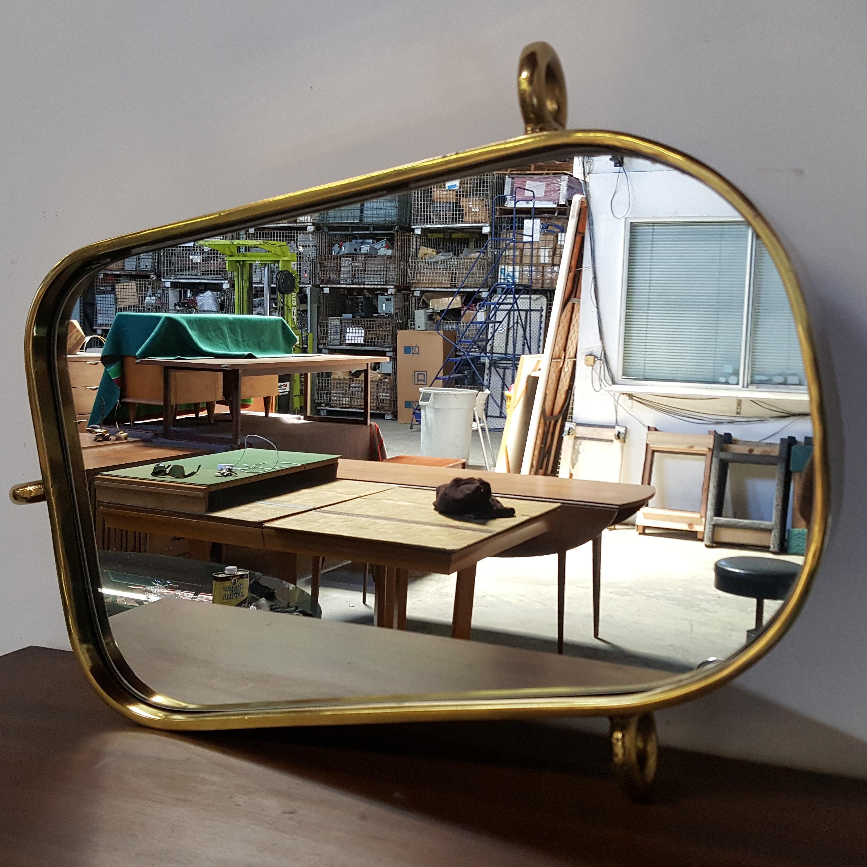 vintage brass nautical mirror