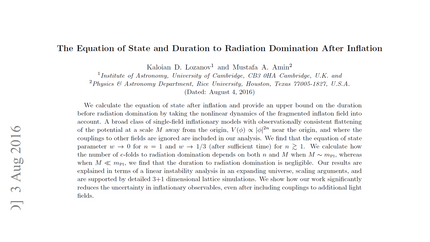 The Equation of State and Duration to Radiation Domination After Inflation