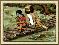 Girl, Dog & Frog