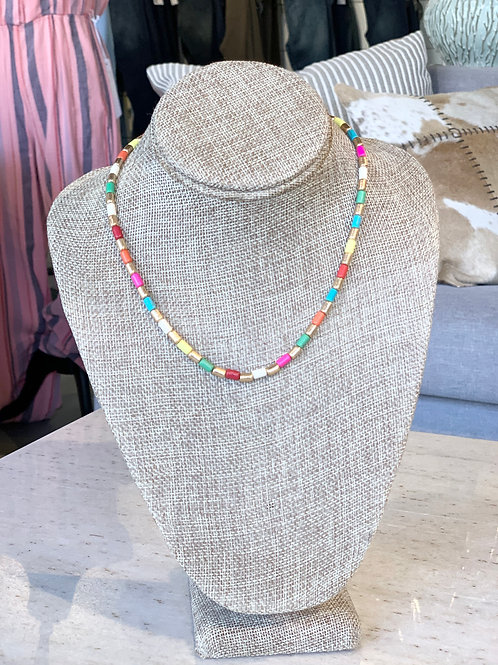 multi colored beaded necklace 16 in