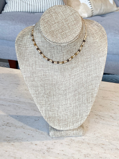 GOLD AND WOOD BEADED NECKLACE 16 IN