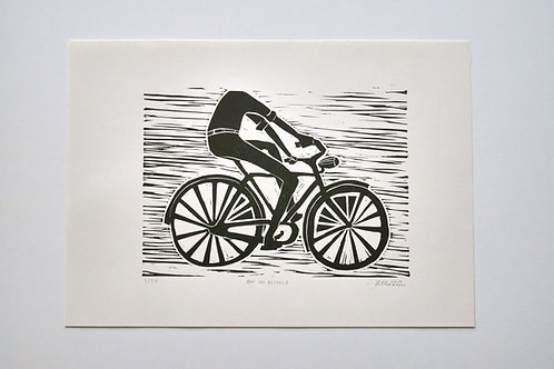 "Handmade print ""Boy on bicycle"" 3/50"