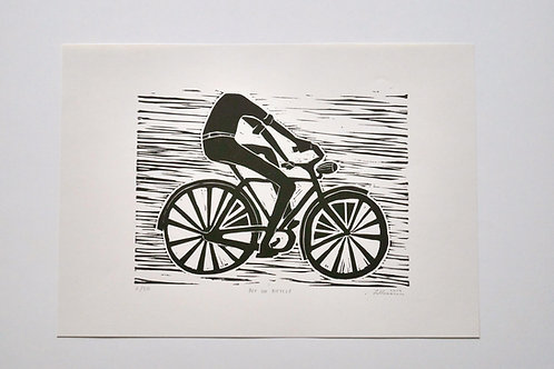 "Handmade print ""Boy on bicycle"" 2/50"