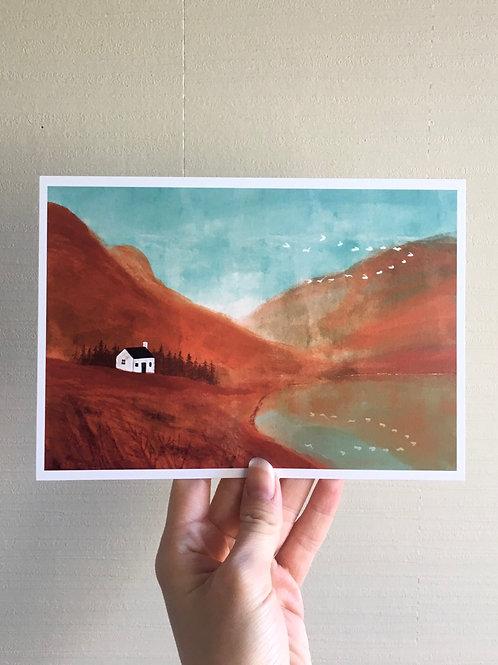 "Art print ""Maroon landscape"" A5"