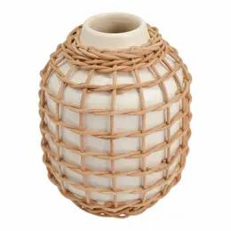 Tall Woven Cream Vase