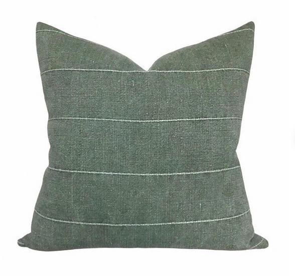 Linen and Ivory Green Stripe Pillow