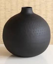 Matte Black Short Vase