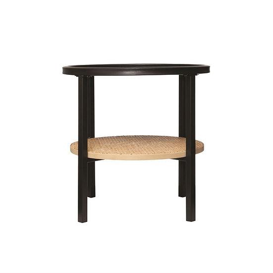 Round Table w/Rattan Shelf
