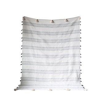 Cream Striped Bed Blanket