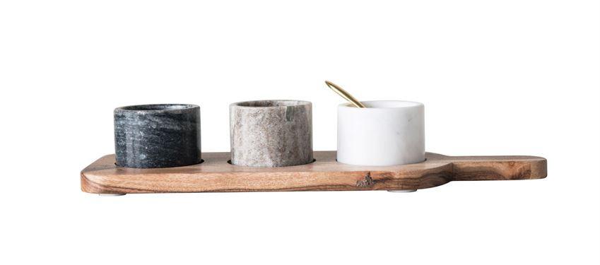 Wood Board w/ 3 Marble Pinch Pots