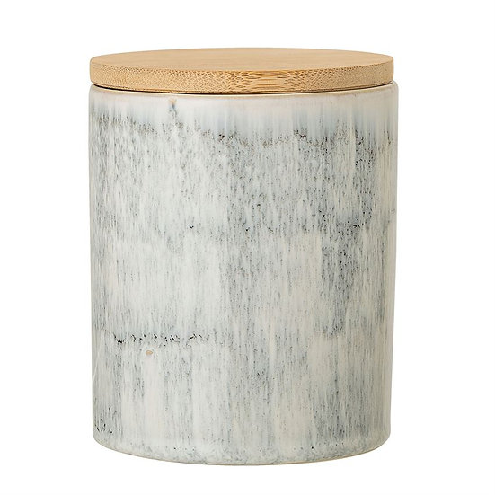 Stoneware Jar with Bamboo Lid
