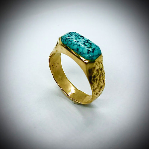 TURQUOISE 14ky GOLD MANS RING