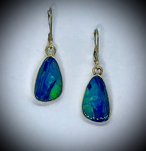 OPAL DOUBLET 14ky gold dangle earrings