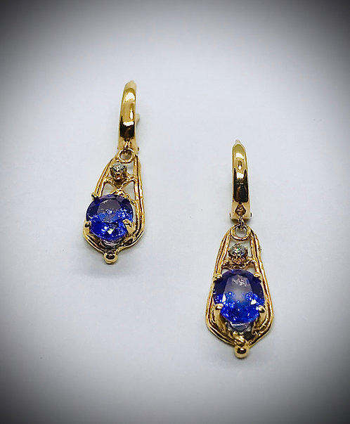 TANZANITE AND DIAMOND 14ky GOLD EARRINGS