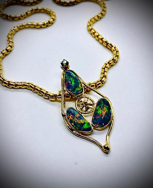 OPAL 14ky GOLD AND DIAMOND CUSTOM PEDANT