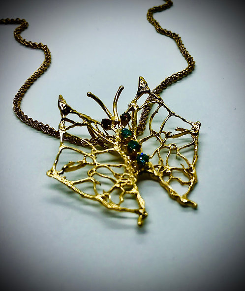 DIAMOND BUTTERFLY 14ky GOLD PENDANT