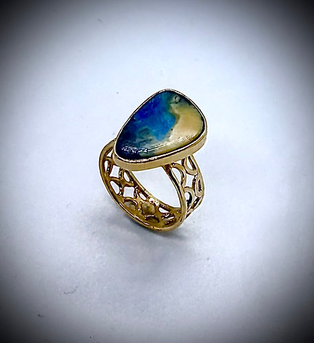 BOULDER OPAL 14ky GOLD rING