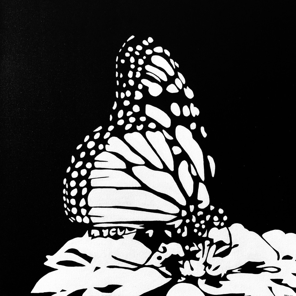 "BUTTERFLY, ACRYLIC ON CANVAS, 20"" X 20"", SOLD"