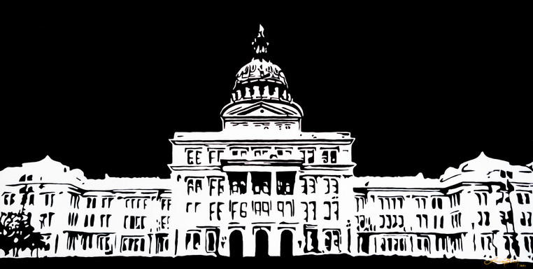 """TEXAS STATE CAPITOL, 36""""X18"""", 2020 - $980"""