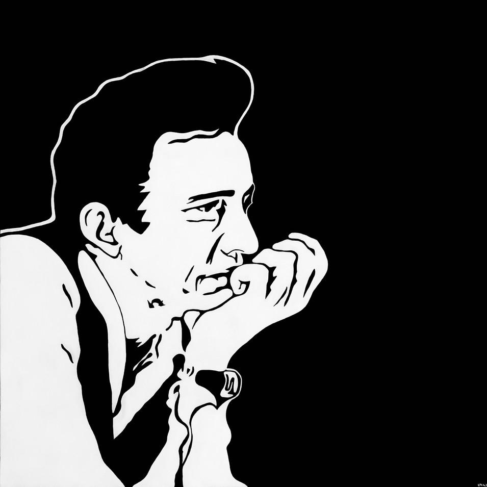 """JOHNNY CASH, ACRYLIC ON CANVAS, 30"""" X 30"""", $625"""