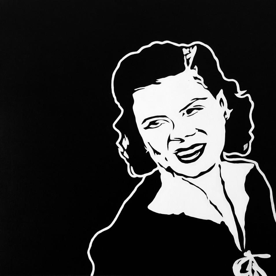 "PATSY CLINE, ACRYLIC ON CANVAS, 30"" X 30"", $475"