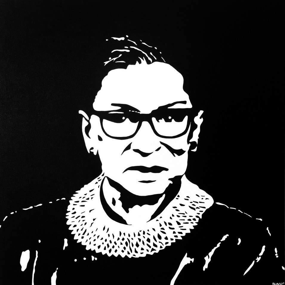 "RUTH BADER GINSBURG, ACRYLIC ON CANVAS, 30""X30"" - SOLD"