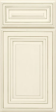 antique white with gold tone glazing maple cabinet door