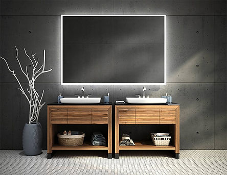 led-lit mirrors and Luna vanities