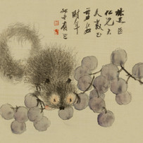 """""""Squirrel and Grapes"""" Fan leaf by Xu Gu (5 sessions)"""