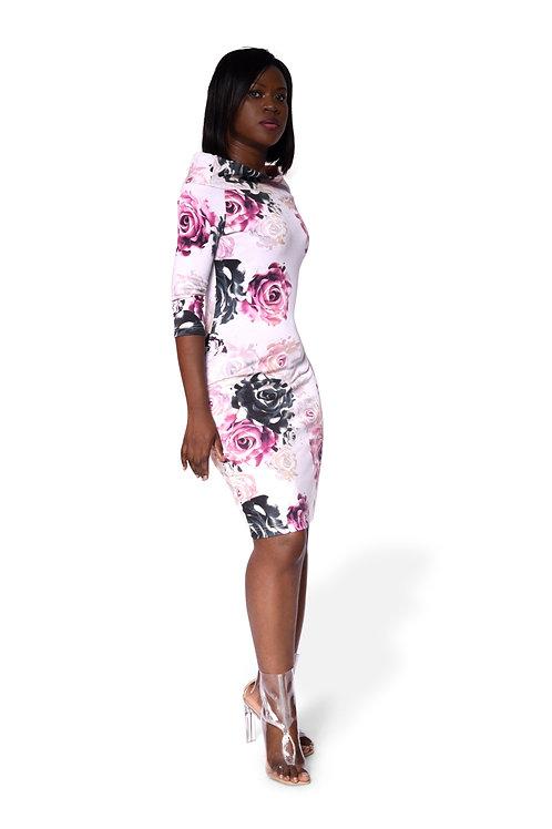 Flora wide shoulder dress