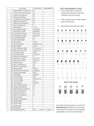 Female Measurement Work Sheet