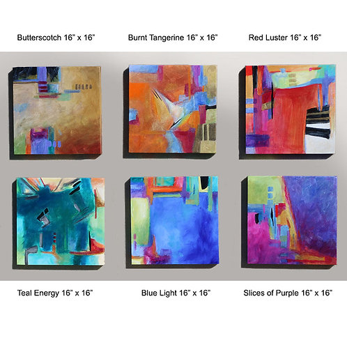 "Colorful assortment of paintings size 16"" x 16"" each (sold separately)"