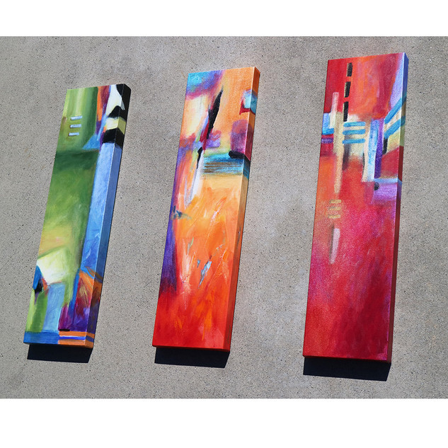 "Green, Orange & Red 8"" x 30"""