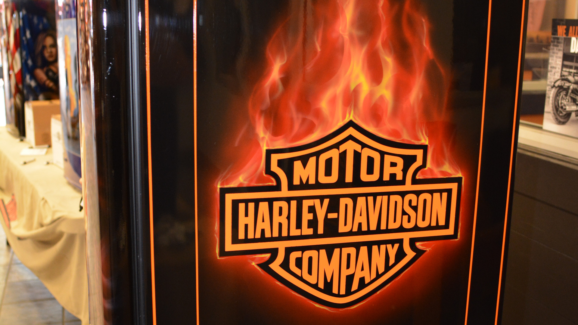 Harley Davidson on mini fridge.JPG