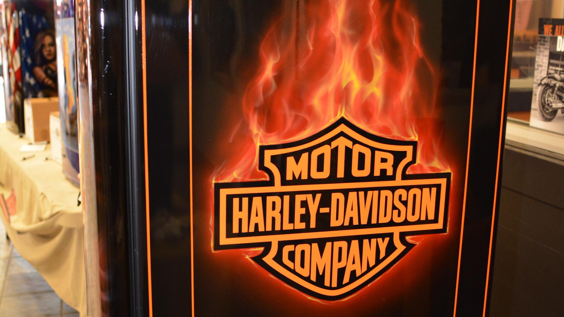 Harley Davidson on mini fridge.JPG
